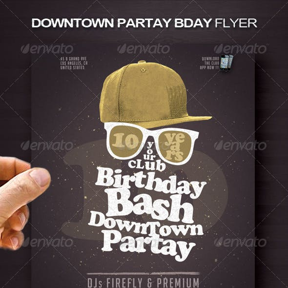 Downtown Partay Bday Flyer