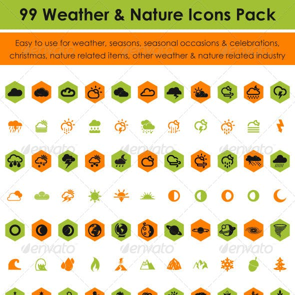 99 Weather & Nature Icons Pack