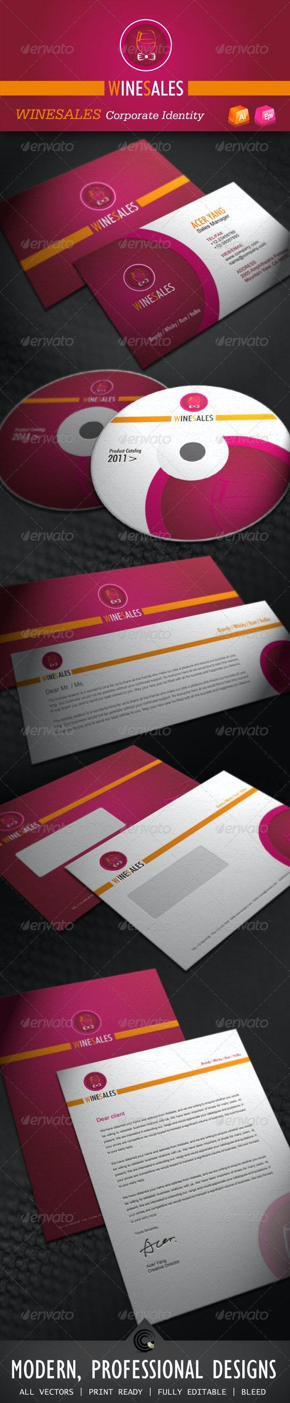 Wine Sales Corporate Identity - Stationery Print Templates