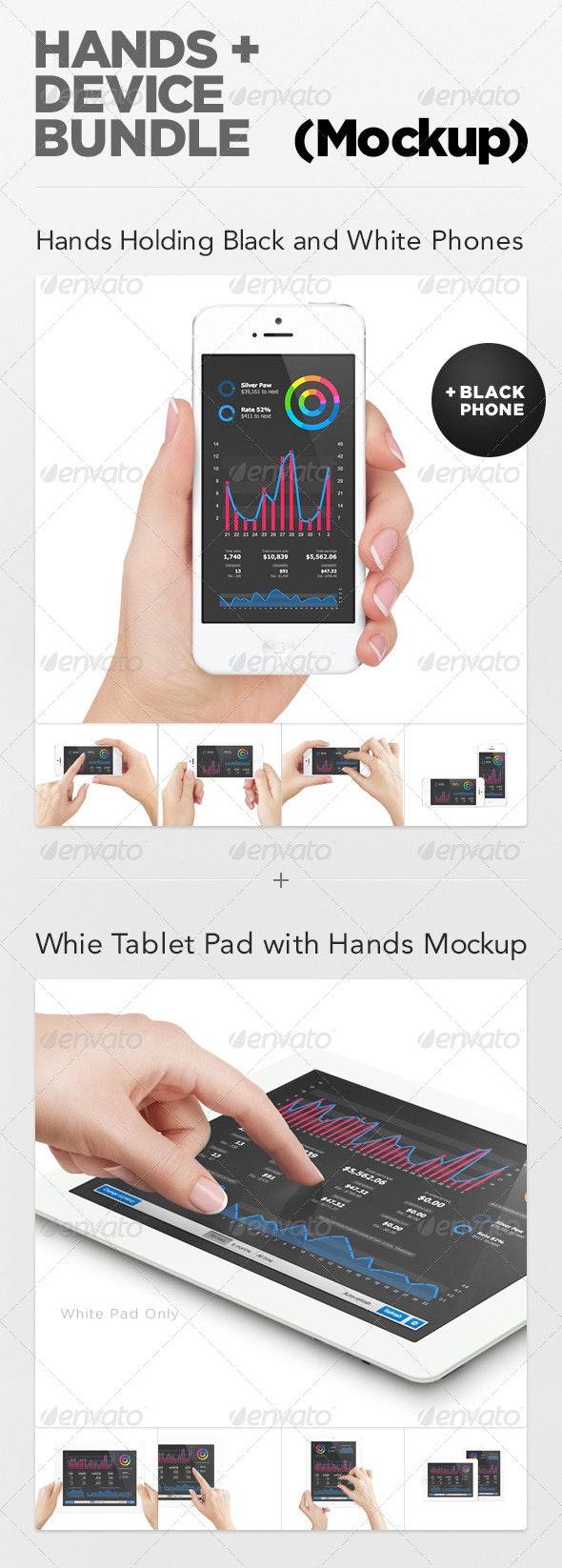 Hands + Device Bundle (Mockup) - Mobile Displays