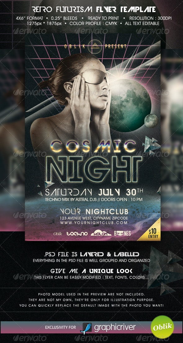 Retro futurism flyer template - Clubs & Parties Events