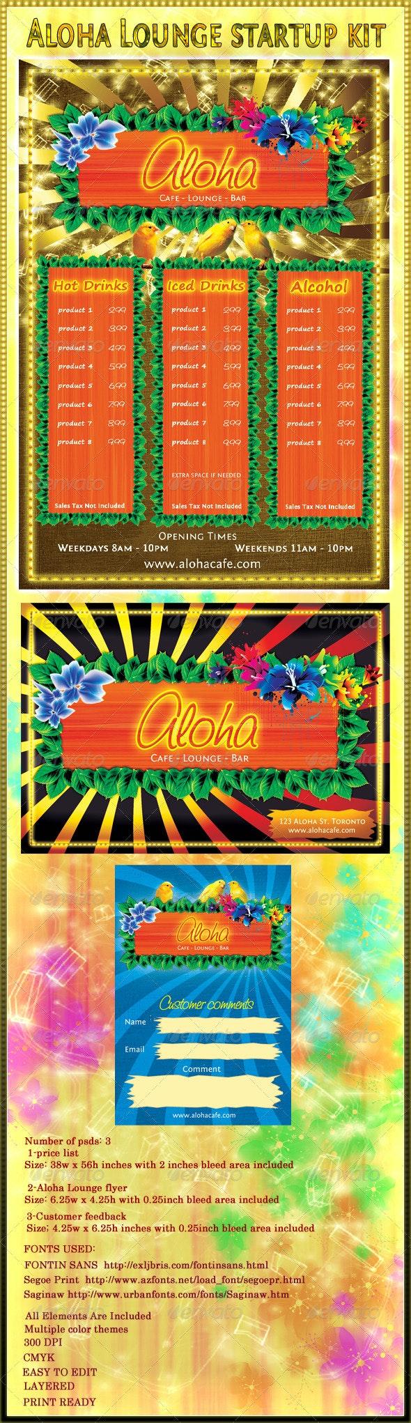 Aloha Lounge Startup kit - Stationery Print Templates