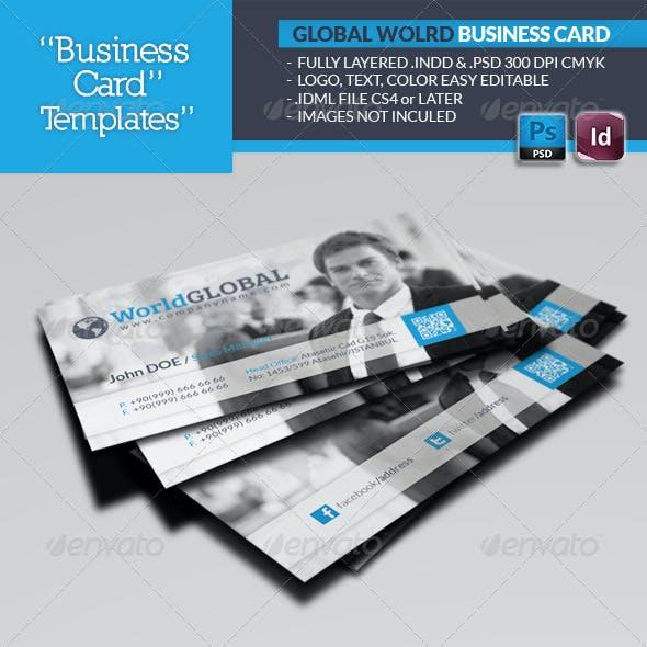 Global World Business Card Template