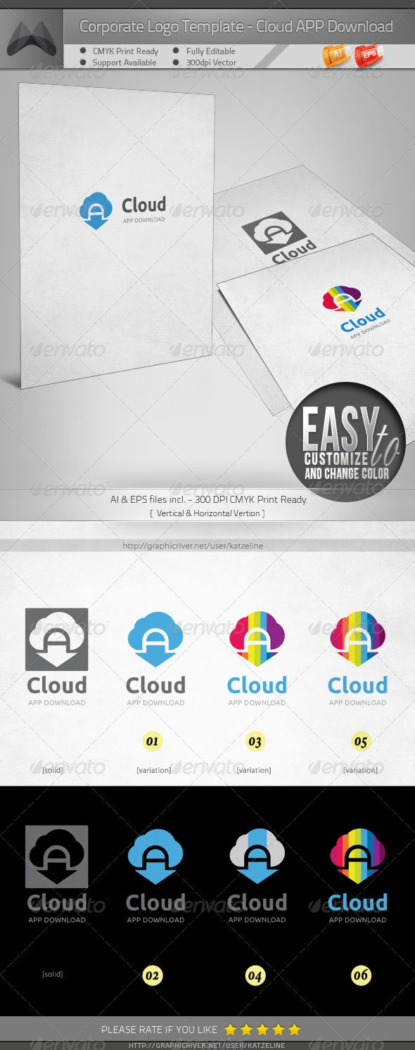 Cloud App Download Logo Template - Vector Abstract