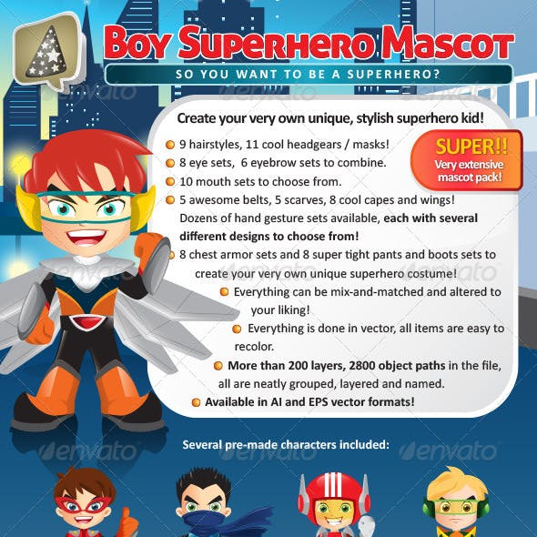 Manga Boy Superhero Mascot Creation Pack