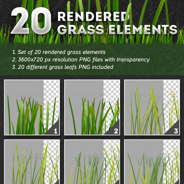 20 Rendered Grass Elements