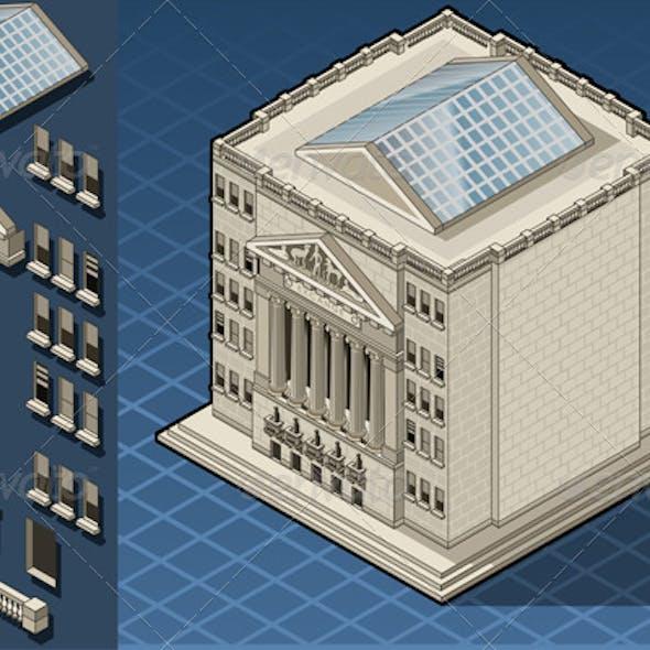 Isometric Stock Exchange Building in New York