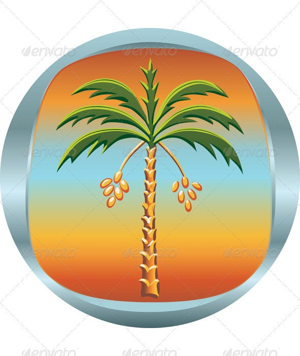 Vector metal medallion with the date palm - Flowers & Plants Nature