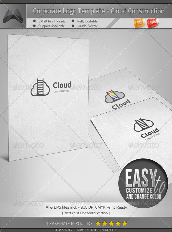 Cloud Construction/Climbing/Ladder - Logo Template - Vector Abstract