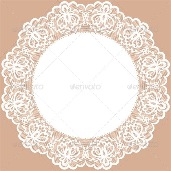 Vintage Card with Lace Doily and Bow