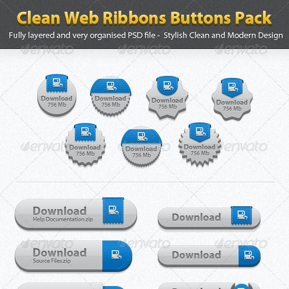 Clean Web Ribbons Buttons Pack