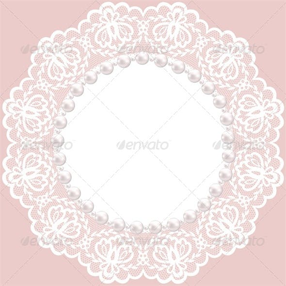 Vintage Card with Lace Doily and Pearls