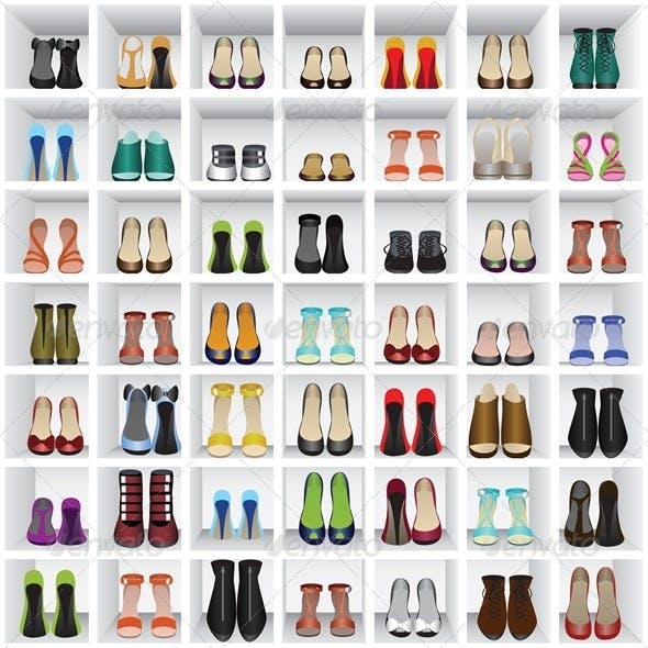Seamless Background with Shoes on Shelves