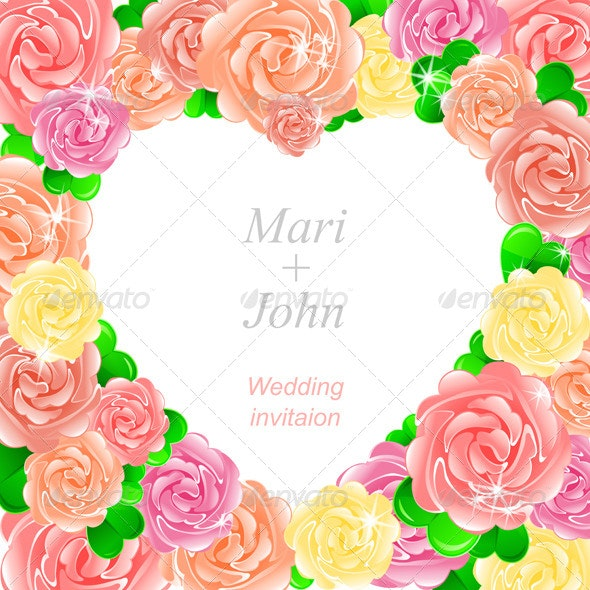 Pink Wedding Invitation with Heart of Roses - Weddings Seasons/Holidays
