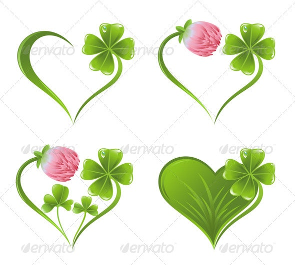 Set of Heart Icons with Clover Leaf and Blossom - Flowers & Plants Nature