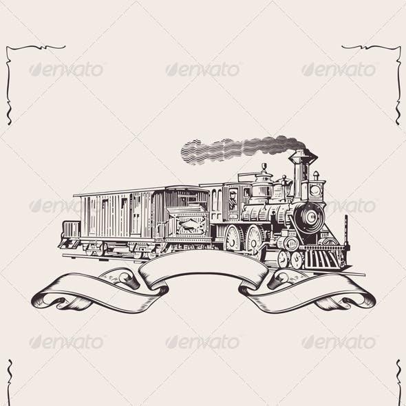 Vintage Locomotive Banner