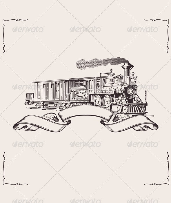Vintage Locomotive Banner - Man-made Objects Objects