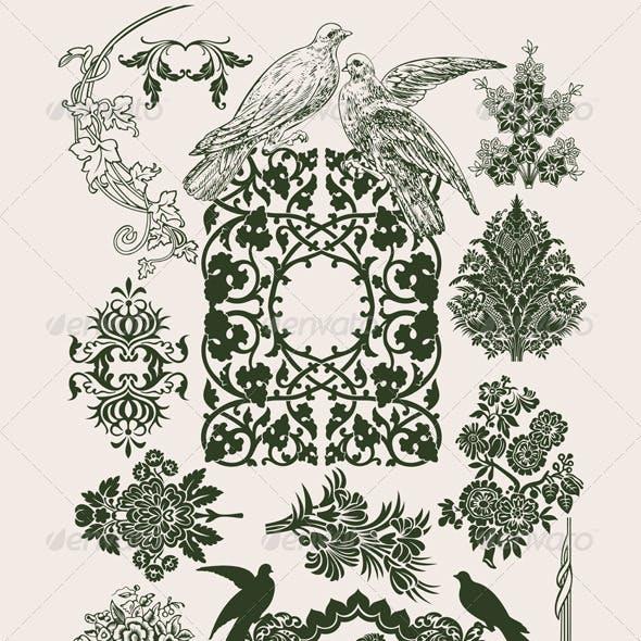 Vintage Flower Design Elements