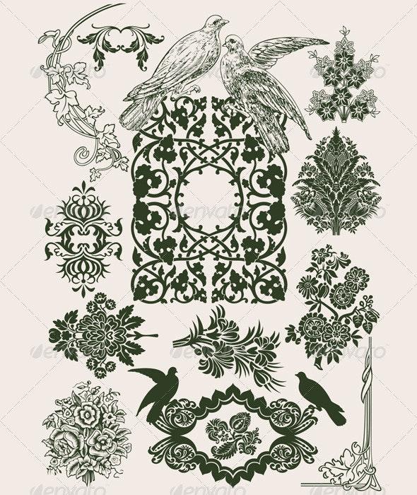 Vintage Flower Design Elements - Miscellaneous Vectors