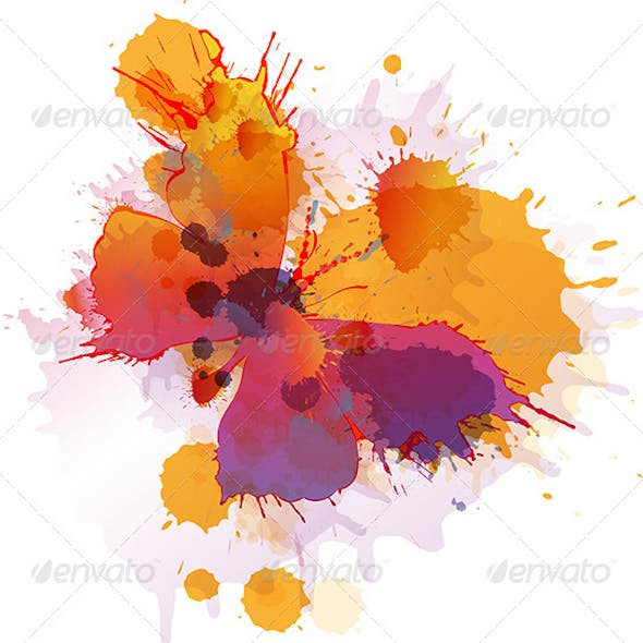 Colorful Splashes Butterfly