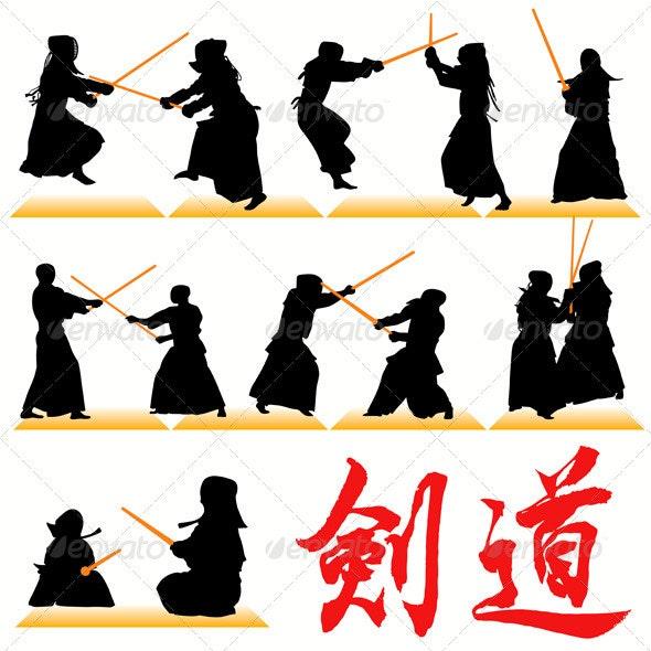 Kendo Silhouettes - Sports/Activity Conceptual