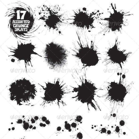 17 Assorted Grunge Splats