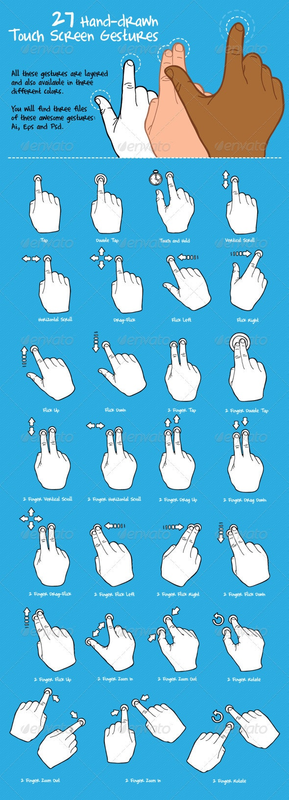 27 Hand-Drawn Touch Screen Gestures Pack - Decorative Symbols Decorative