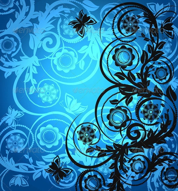 Floral Ornament with Butterfly - Flourishes / Swirls Decorative