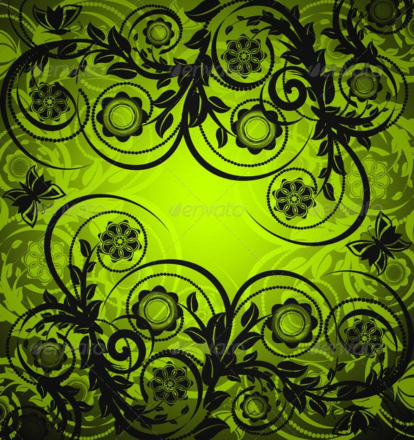 Green Floral Ornament with Butterfly - Flourishes / Swirls Decorative