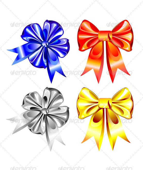 Vector set of shiny ribbon bows - Seasons/Holidays Conceptual