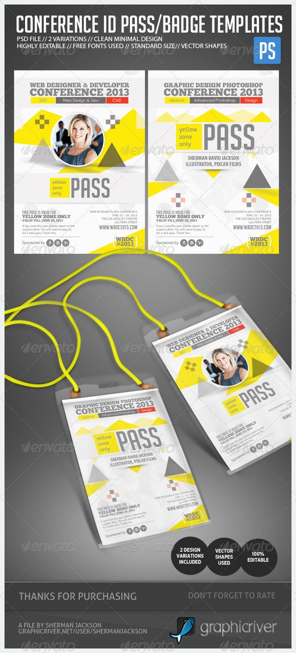 Conference Expo & Corporate Pass ID Badge - Stationery Print Templates