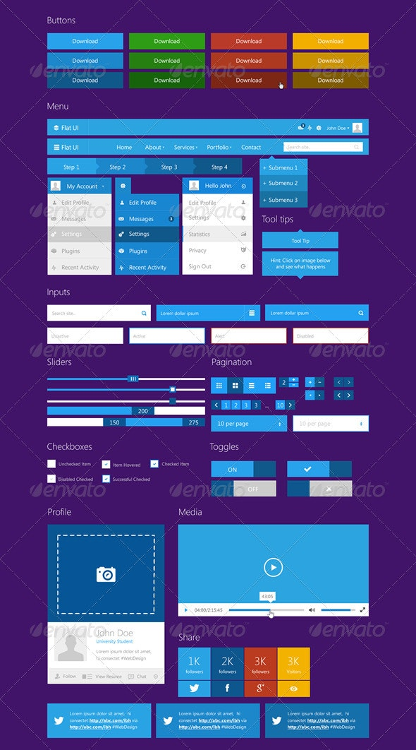 Flat UI Kit - User Interfaces Web Elements