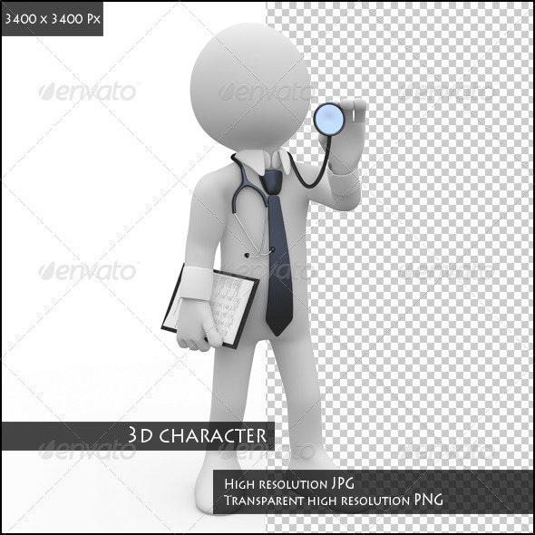 Doctor with a Stethoscope Auscultation - Characters 3D Renders