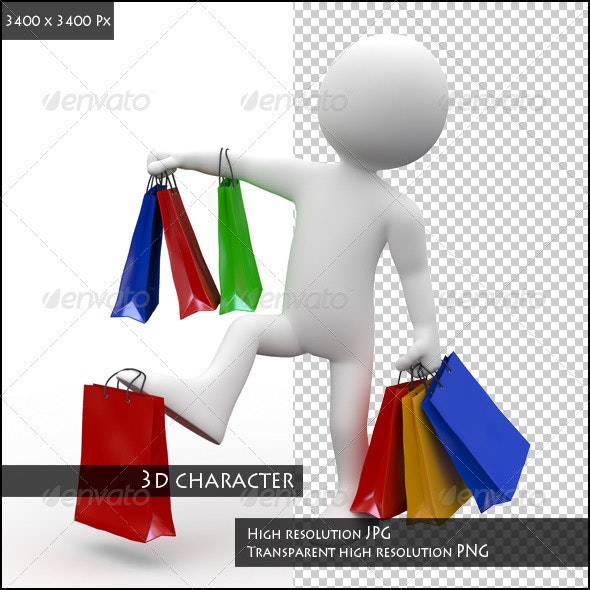 Man with Many Bags of Various Colors, Shopping - Characters 3D Renders