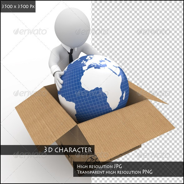 Man Keeping the Earth in a Cardboard Box - Characters 3D Renders