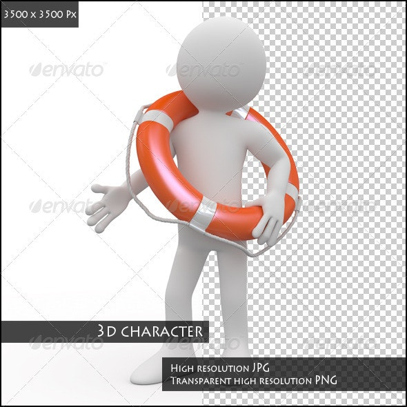 Man with an Orange Life Preserver - Characters 3D Renders
