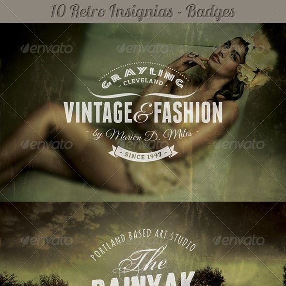 10 Retro Insignias - Badges