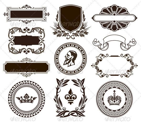 Vector set of vintage frames and elements - Vectors