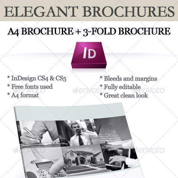 Elegant brochure (A4 + 3-fold) InDesign templates