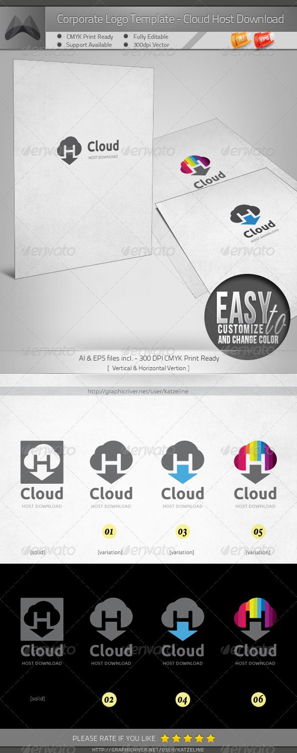 Cloud Host Download/Resource - Logo Template - Vector Abstract