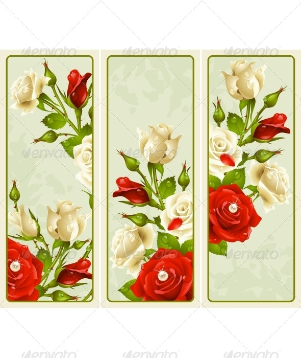 Vector set of Rose vertical banners - Seasons/Holidays Conceptual