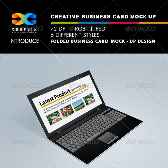 Realistic Folded Business Card Mock-up