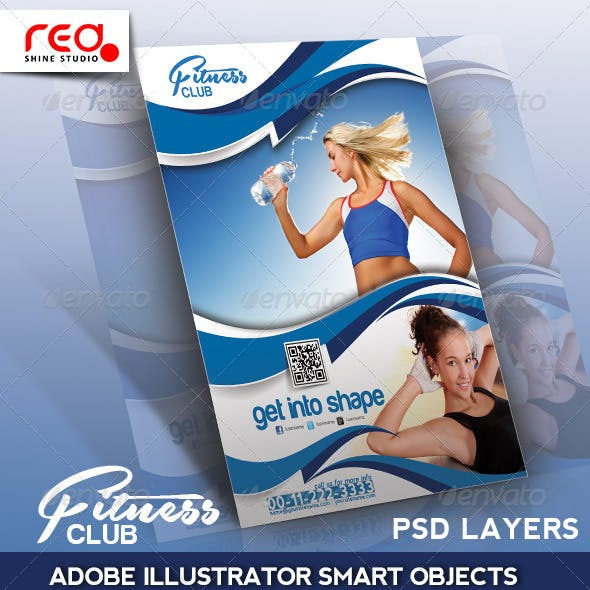 Fitness Club Flyer, Poster & Magzine Template