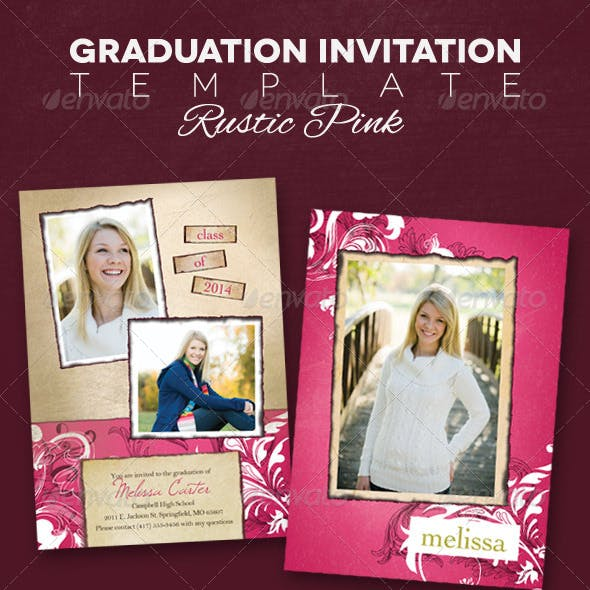 Graduation Announcement - Rustic Pink