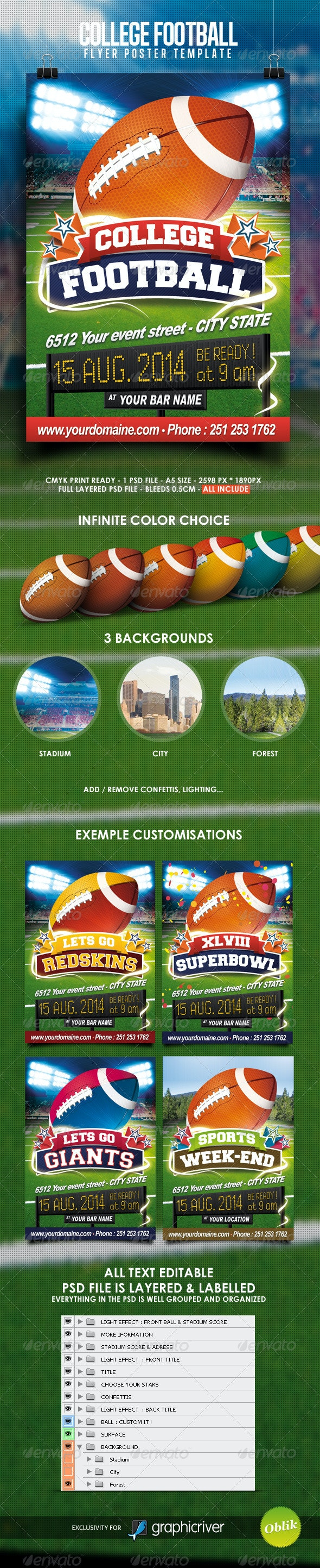 College Football Flyer - Sports Events