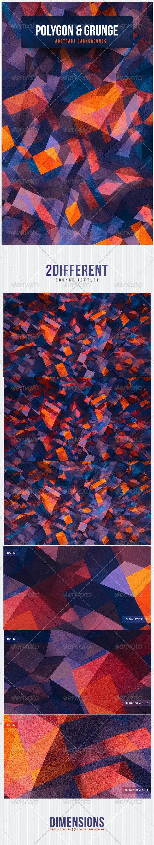 Polygon & Grunge Abstract Backgrounds - 3D Backgrounds