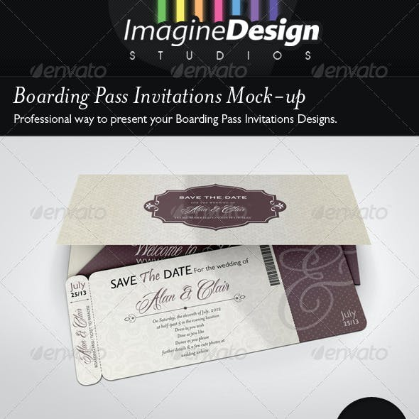 Boarding Pass Invitations Mock-up