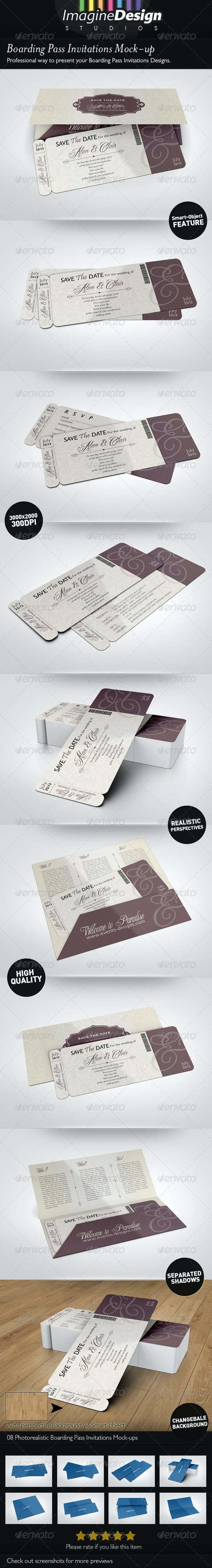 Boarding Pass Invitations Mock-up - Miscellaneous Print