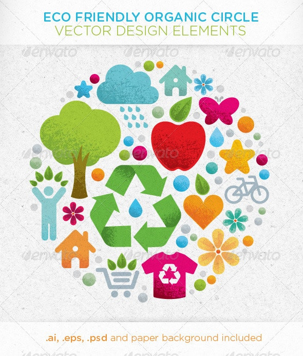 Eco Friendly Organic Circle Vector Design Elements - Organic Objects Objects