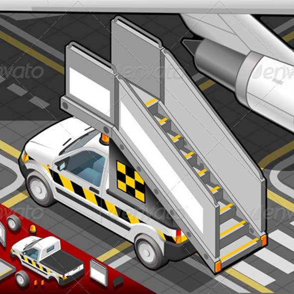 Isometric Airport Boarding Stair Car in Rear View